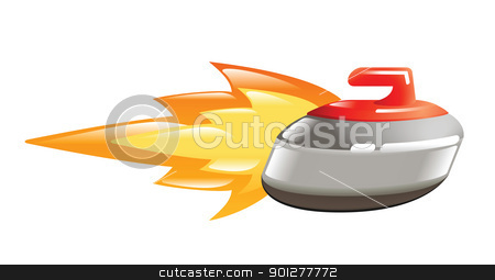 flaming curling stone stock vector clipart, Illustration of a flaming curlingstone by Christos Georghiou