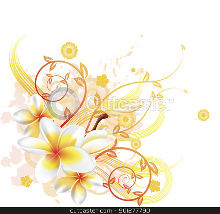 Cool floral background stock vector clipart, A very stylish vector floral background illustration with Plumeria Frangipani flowers. by Christos Georghiou