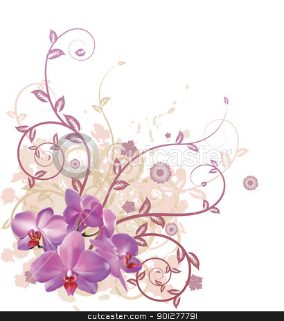 Cool orchid floral background stock vector clipart, A very stylish vector floral background illustration with pink orchid flowers. by Christos Georghiou