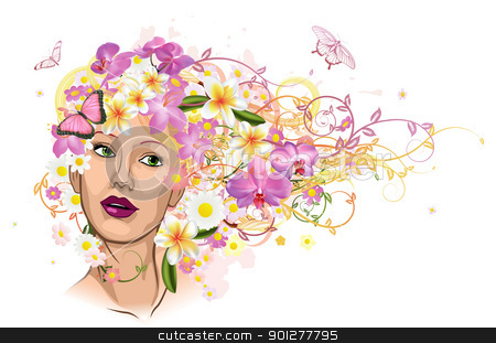 Beautiful woman with hair made of flowers stock vector clipart, Beautiful woman with hair made of flowers with butterflies.  by Christos Georghiou