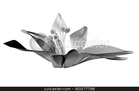 3d greyscale flower stock photo,  by Christos Georghiou