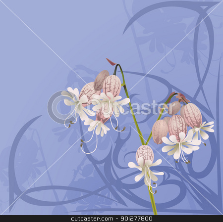 beautiful flower background stock vector clipart, A beautiful flower background with art nouveau swirls.  by Christos Georghiou