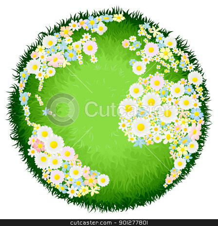 Floral flower globe concept stock vector clipart, A world earth globe with continents made up of flowers and seas as grass. Concept for environmental issues or peace. by Christos Georghiou