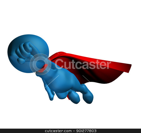3d character flying stock photo, 3d blue character flying with a red cape by Christos Georghiou