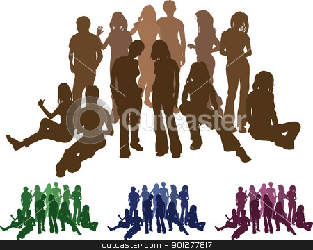 group of friends silhouette illustration stock vector clipart, A group of friends each is a complete silhouette on separate layer in the vector files (with the exception of those hugging who are an individual set). Vector file includes several different colour versions  by Christos Georghiou