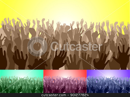 crowd with their hands up stock vector clipart, A crowd with their hands up. Vector file includes several different colour versions  by Christos Georghiou