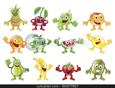 Set of colourful fruit character mascots stock vector clipart, A set of happy cute colourful fruit character mascots by Christos Georghiou