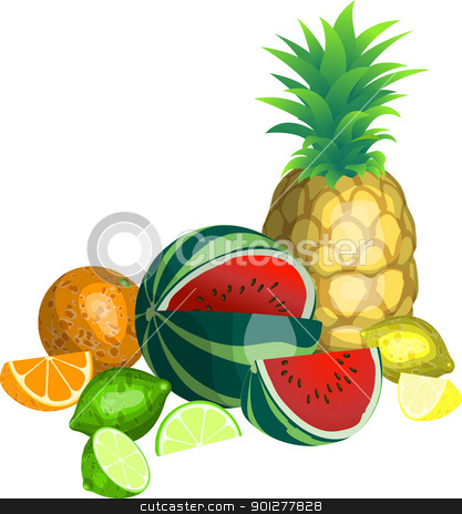 fruit illustration stock vector clipart, Some tropical fruit  by Christos Georghiou