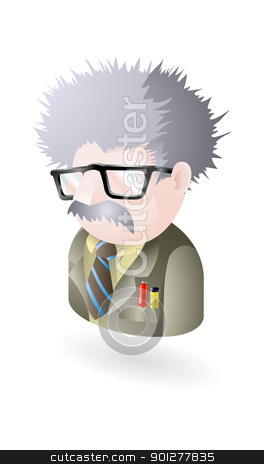 geek illustration stock vector clipart, Illustration of a geek or scientist or boffin or nerdy guy by Christos Georghiou