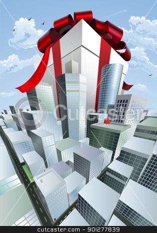Giant gift in city stock vector clipart, A huge gift. Conceptual illustration of a huge present with bow towering over a city. Could represent a massive sale or bargain. by Christos Georghiou