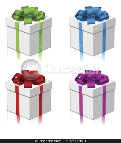 Gift or present four colors stock vector clipart, Gift in four different colour variations. Red, green, blue, and purple. by Christos Georghiou