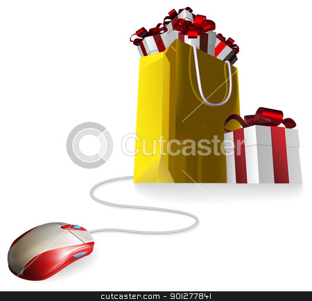 Mouse gift shopping bag stock vector clipart, Mouse attached to a shopping bag with giftst concept. Buying gifts by online shopping or being given gifts for surfing the web or buying online. by Christos Georghiou
