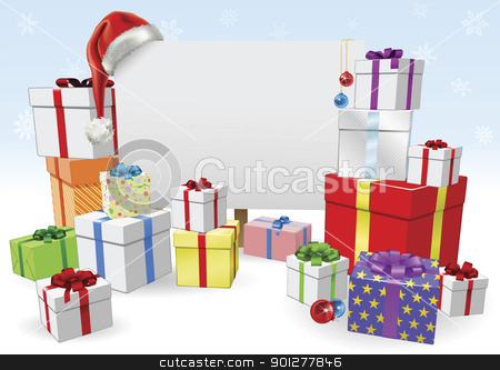 Christmas sign and gifts concept stock vector clipart, Christmas sign and presents background with copyspace for your message by Christos Georghiou