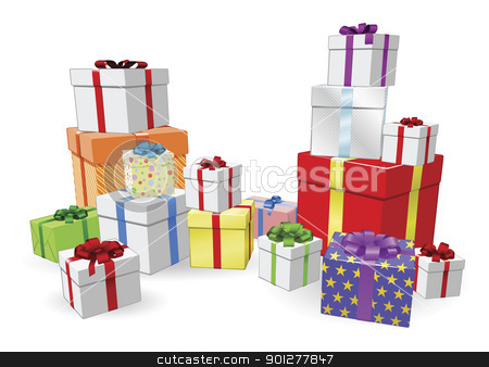 Stacks of presents concept stock vector clipart, Lots of colorful wrapped presents for  Birthday, Christmas or other celebration by Christos Georghiou