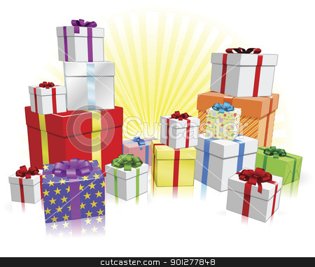 Many gifts concept stock vector clipart, Many nicely wrapped presents for a celebration such as a Birthday or Christmas by Christos Georghiou