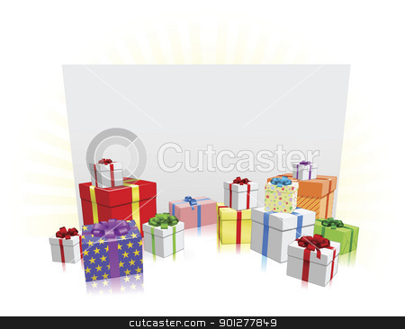 Gifts and Sign Concept stock vector clipart, Sign and presents background with copyspace for your message by Christos Georghiou