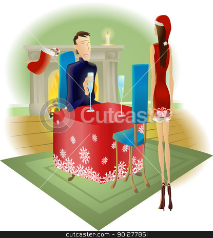 surprise romantic Christmas gift stock vector clipart, A beautiful woman giving a surprise romantic Christmas gift to her handsome partner  by Christos Georghiou