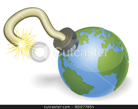 Time bomb in shape of  world globe concept stock vector clipart, Time bomb in shape of  world globe. Countdown due to environmental or other crisis e.g. judgement day or end of the world. by Christos Georghiou
