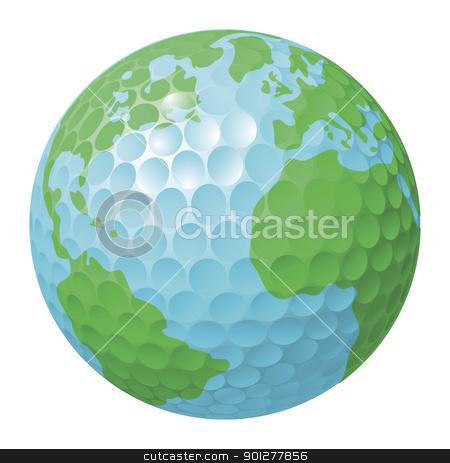 Golf ball world globe concept stock vector clipart, Conceptual illustration. Golf ball world globe by Christos Georghiou