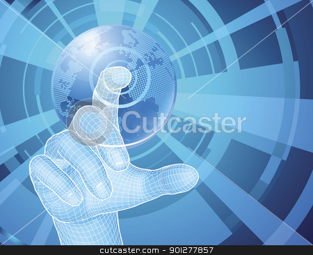 Hand selecting world globe concept background stock vector clipart, Users hand selecting concept background with world globe by Christos Georghiou