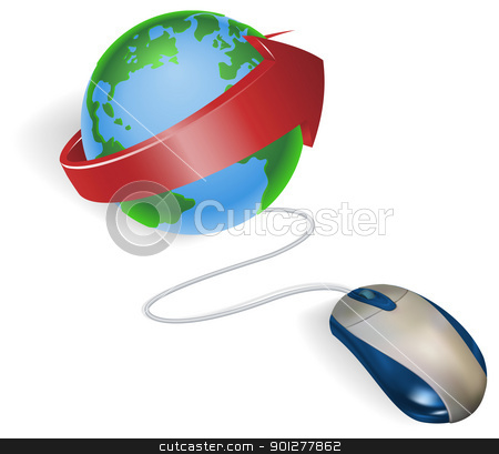 Mouse and arrow globe stock vector clipart, Concept. A mouse connected to a world globe with arrow. by Christos Georghiou