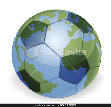 World globe soccer ball concept stock vector clipart, World globe soccer football ball concept illustration by Christos Georghiou
