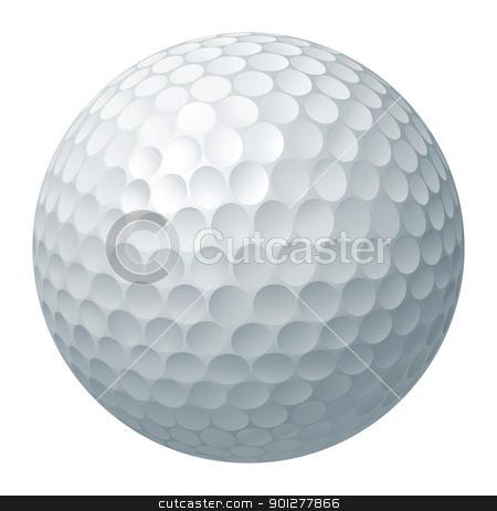Golf ball illustration stock vector clipart, An illustration of a traditional white golf ball by Christos Georghiou