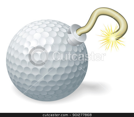 Golf ball bomb concept stock vector clipart, Retro cartoon golf ball cherry bomb with lit fuse burning down. Concept for countdown to big golfing event or crisis. by Christos Georghiou