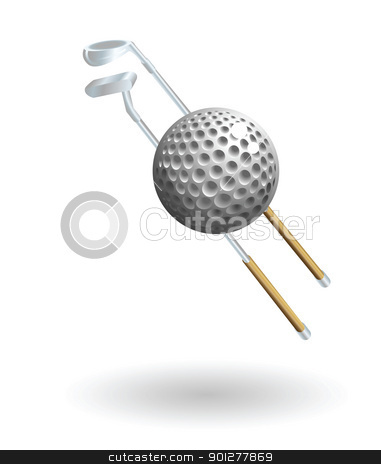 golf Illustration stock vector clipart, Illustration of a golf ball and golf clubs by Christos Georghiou