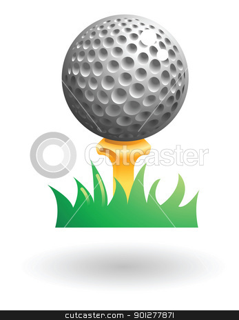golfball Illustration stock vector clipart, Illustration of a golf ball on a tee by Christos Georghiou