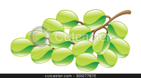 grapes illustration stock vector clipart, Illustration of green grapes by Christos Georghiou