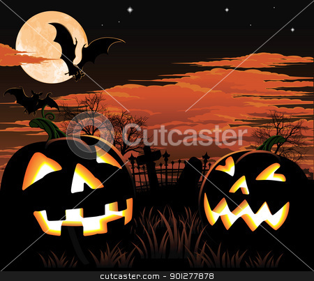 Halloween graveyard background stock vector clipart, A graveyard, bats and pumpkin Halloween background by Christos Georghiou