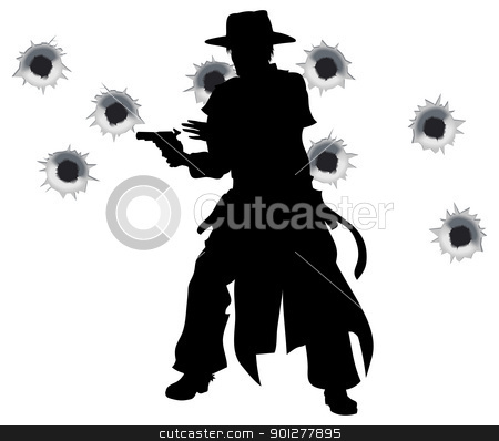 Gun slinger western shoot-out stock vector clipart, A wild west gunslinger drawing and firing his gun in a shootout with bullet holes in the background by Christos Georghiou