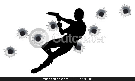 Action hero in gun fight silhouette stock vector clipart, Action hero leaping through the air and shooting in film style gun fight action sequence. With bullet holes. by Christos Georghiou