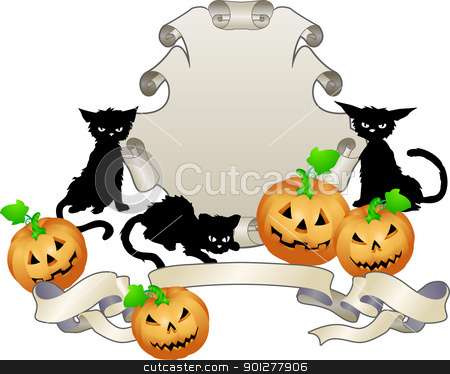 halloween shield illustration stock vector clipart, An illustration of a Halloween themed shield  by Christos Georghiou