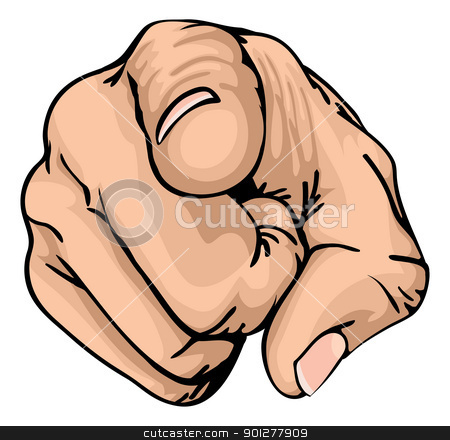 pointing the finger  stock vector clipart, a colour illustration of a human hand with the finger pointing or gesturing towards you. by Christos Georghiou