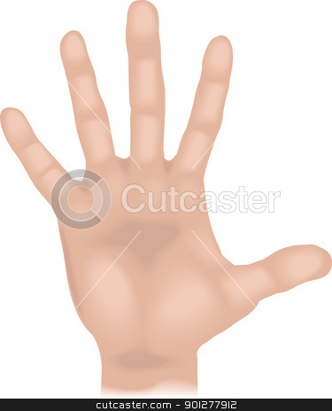 hand Illustration stock vector clipart, An illustration of a human hand, no meshes used  by Christos Georghiou