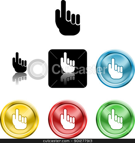hand icon symbol stock vector clipart, Several versions of an icon symbol of a stylised hand pointing finger upwards   by Christos Georghiou