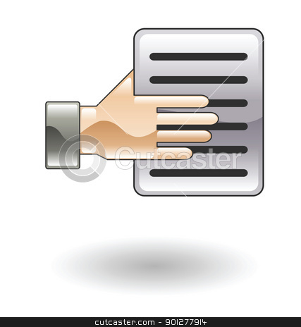 handing document  Illustration stock vector clipart, Illustration of a hand and a document by Christos Georghiou
