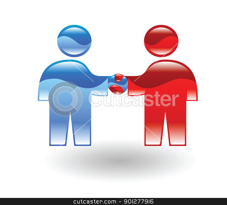 handshake stock vector clipart, two stylised business people shaking hands by Christos Georghiou