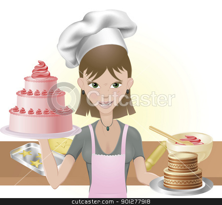 Young woman baking a cakes and cookies stock vector clipart, Young attractive woman holding two cakes. One pink one chocolate with chef hat and baking utensils by Christos Georghiou