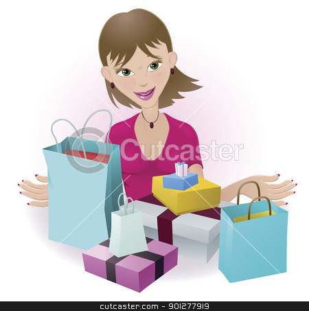 Happy Shopper stock vector clipart, A woman that is very happy with all her purchases by Christos Georghiou