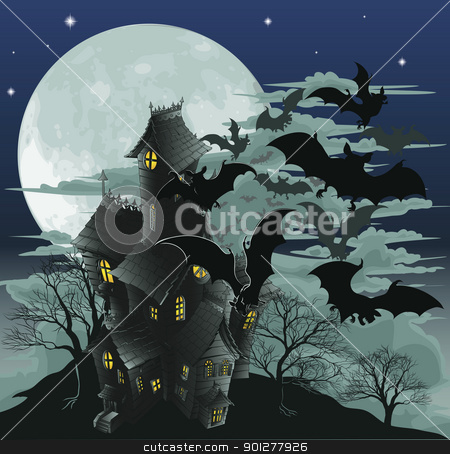 Creepy haunted ghost house scene illustration with bats stock vector clipart, Halloween scene. Illustration of a spooky haunted ghost house by Christos Georghiou