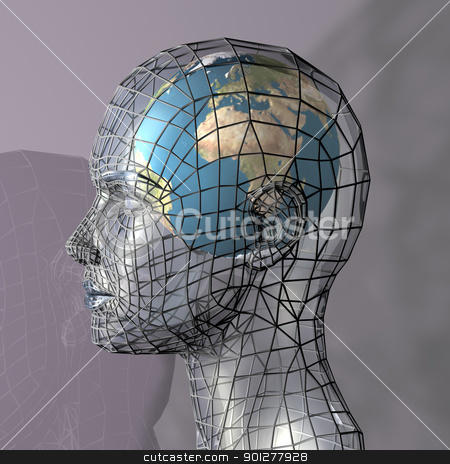 the world concept stock photo, Globe within a transparent head, perhaps representing the potential of the mind, intellect or psyche. 3d conceptual render.  by Christos Georghiou