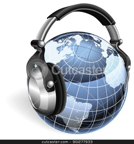 The world listening stock vector clipart, The world earth globe listening to music on funky headphones. by Christos Georghiou