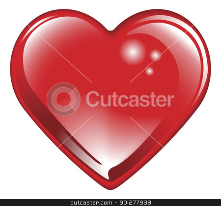 Isolated shiny red valentines heart stock vector clipart, Isolated shiny glossy red valentines day heart. Classic symbol of romantic love.  by Christos Georghiou