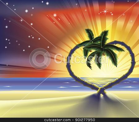 Romantic beach heart palm trees illustration stock vector clipart, Illustration of a romantic beach scene with heart shaped palm trees at sunset by Christos Georghiou