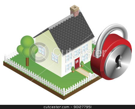 Home security system concept  stock vector clipart, Home security system concept, suburban family home and padlock icon by Christos Georghiou