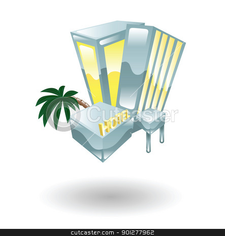 hotel illustration stock vector clipart, Illustration of a hotel by Christos Georghiou