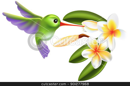 humming bird and flowers stock vector clipart, Illustration of a humming bird and flowers by Christos Georghiou
